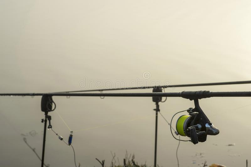 Carp fishing rod with a coil in the foreground and a bite alarm on the morning dawn in anticipation of a bite of fish. Background stock image
