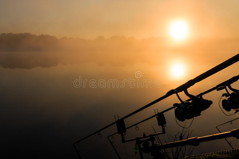 Carp fishing rods misty lake France royalty free stock photos