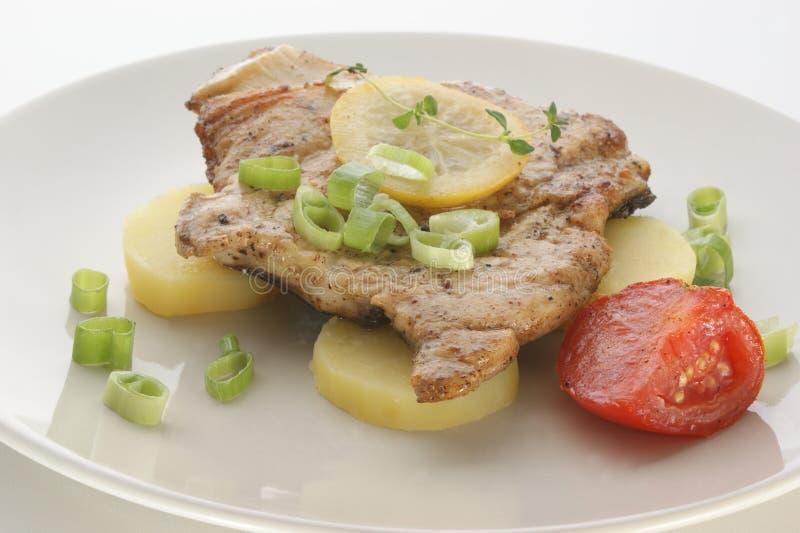 Download Carp Steak With Potato And Tomato Stock Image - Image: 10616705