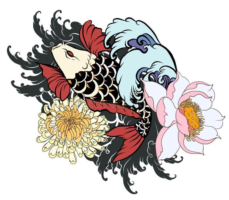 A carpa bonita, colorida de Koi com respingo da água, os lótus e a peônia florescem ilustração royalty free