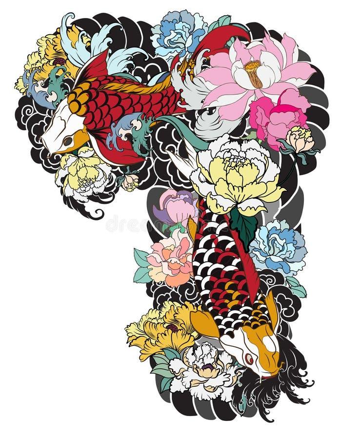 A carpa bonita, colorida de Koi com respingo da água, os lótus e a peônia florescem Projeto japonês tradicional da tatuagem ilustração stock