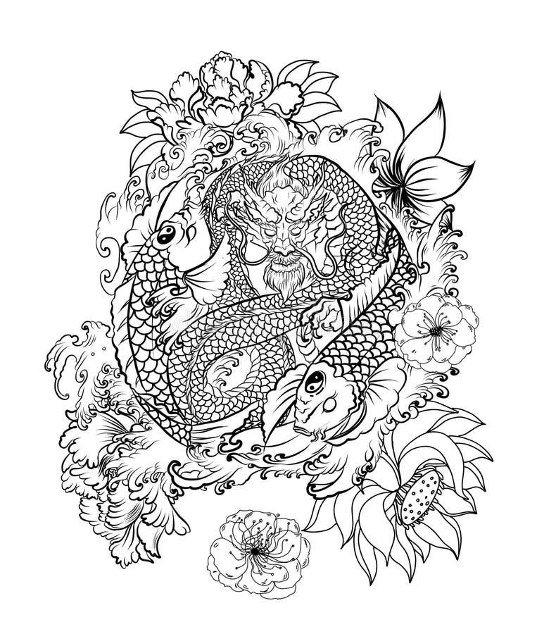 Carpa del dragón y del koi dos con el símbolo de yin-Yang stock de ilustración