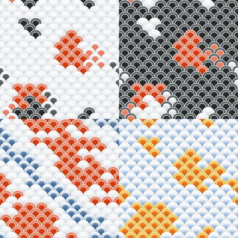 Carpa Koi Scales Seamless Pattern Set de los pescados stock de ilustración