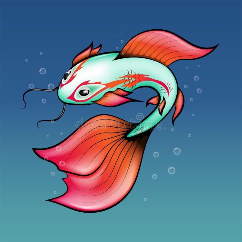 Carpa verde chinesa com aletas brilhantes e um teste padrão em torno dos olhos em profundidades do mar Ilustra??o do vetor ilustração stock