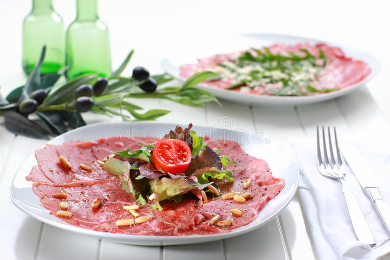 Download Carpaccio With Salad And Pine Nut Stock Image - Image: 24684329