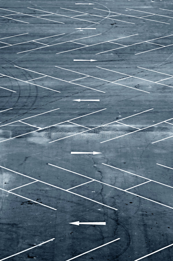 Carpark. Aerial view of an empty carpark in Bangkok stock photo