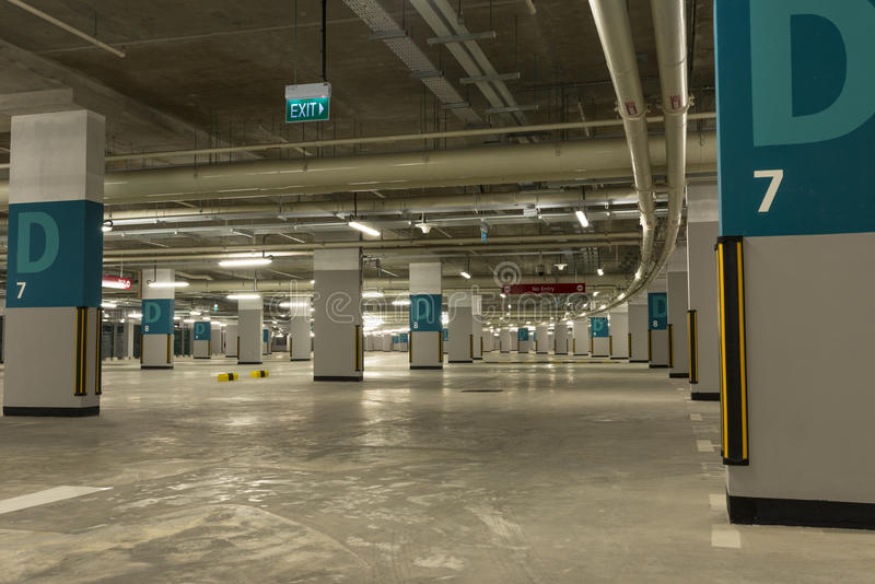 Carpark. Underground empty carpark with location alphabet identification royalty free stock images