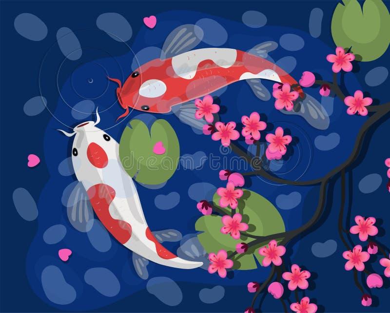 Carpas de Koi Ilustra??o japonesa do vetor dos peixes de Koi Goldfish chin?s S?mbolo de Koi da riqueza ilustração royalty free