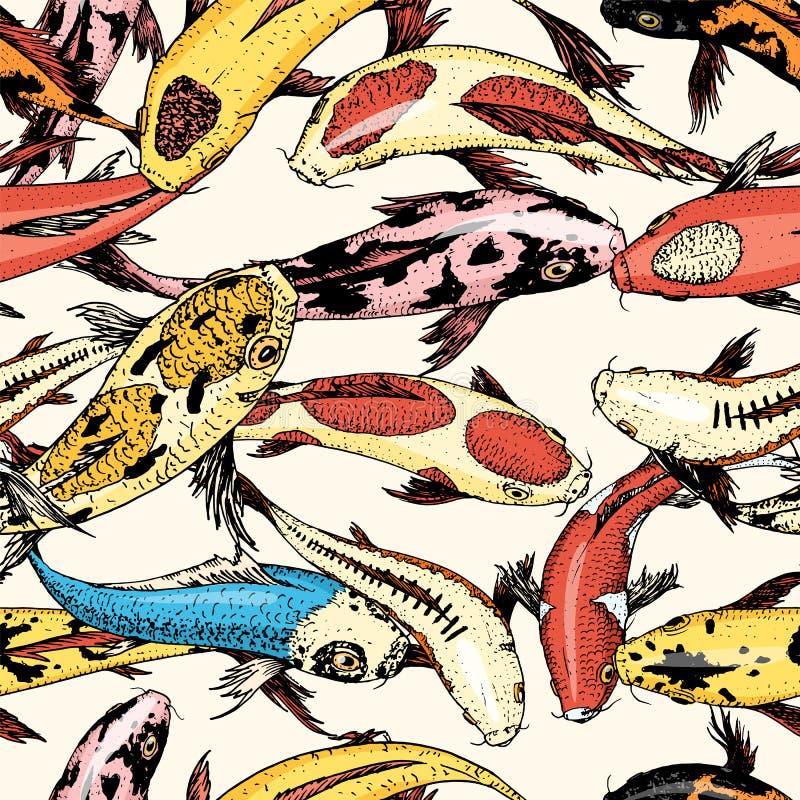 Carpas de Koi, peixes sem emenda do japonês do teste padrão animais coreanos Linha tirada mão gravada esboço monocromático da tat ilustração stock