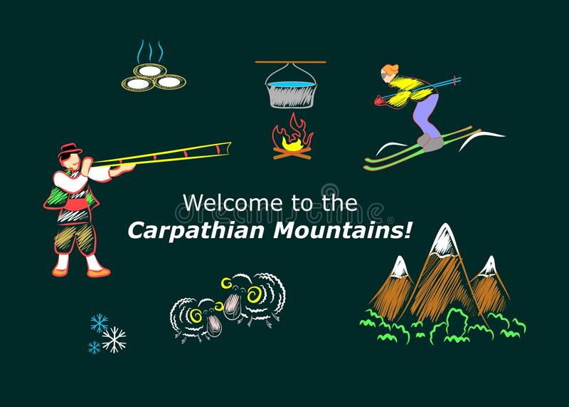 carpathian berg vektor illustrationer
