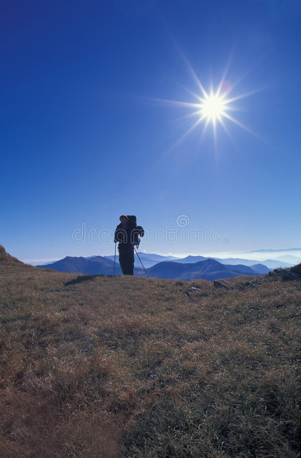 Carpathian hiker. Hiker in the Carpathians, Rodna Mountains, Romania royalty free stock photos