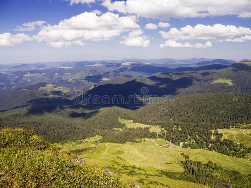 View From The Mountain. Carpathian landscape, view from the mountain Petros. Summer Europe Earth stock photos