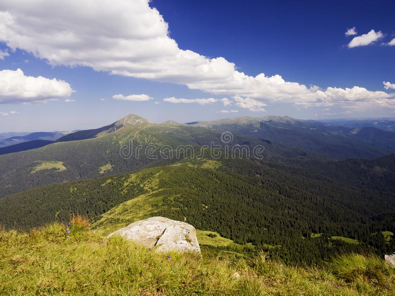 View From The Mountain. Carpathian landscape, view from the mountain Petros. Summer Europe Earth stock image