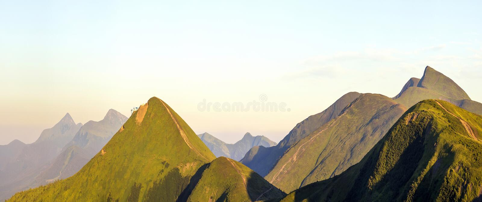 Carpathian mountain landscape in summer. Panoramic view. Sunset in Ukraine mountains. Wide panorama stock photos