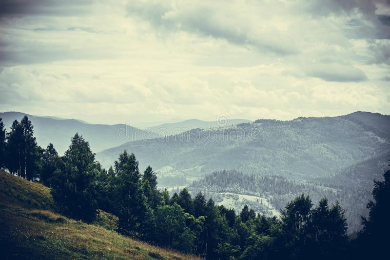 Carpathian mountain range. Clouds over mountains. stock photos