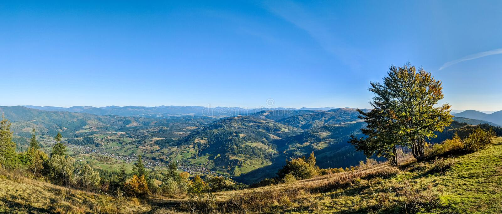 Landscape with carpathian mountains in the spring season. Carpathian mountains in sunny day in the autumn season ukraine landscape forest beautiful green nature stock photography
