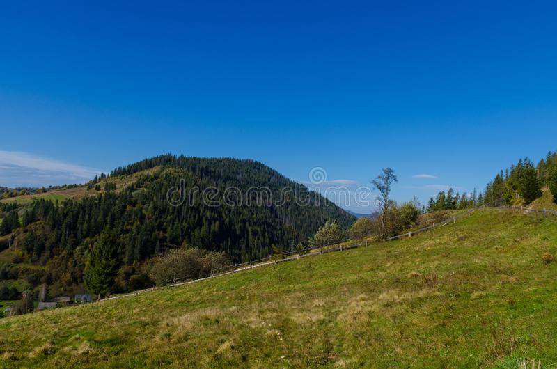 Landscape with carpathian mountains in the spring season. Carpathian mountains in sunny day in the autumn season ukraine landscape forest beautiful green nature royalty free stock photography