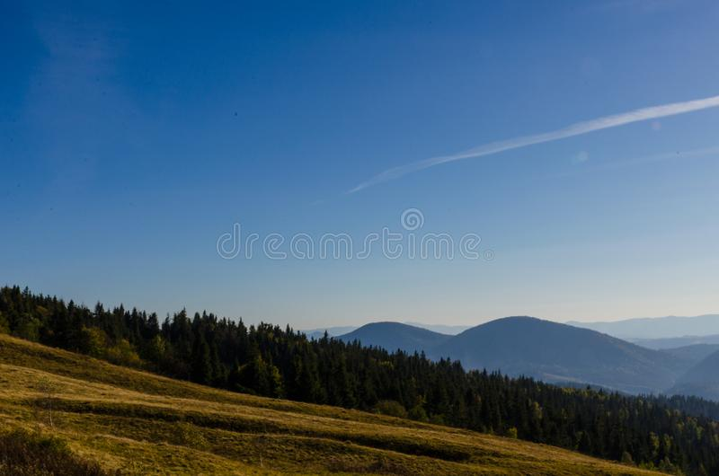Landscape with carpathian mountains in the spring season. Carpathian mountains in sunny day in the autumn season ukraine landscape forest beautiful green nature royalty free stock photos