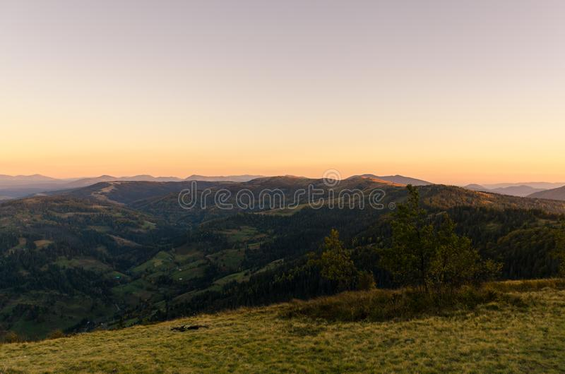 Landscape with carpathian mountains in the spring season. Carpathian mountains in sunny day in the autumn season ukraine landscape forest beautiful green nature royalty free stock photo