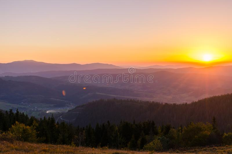 Landscape with carpathian mountains in the spring season. Carpathian mountains in sunny day in the autumn season ukraine landscape forest beautiful green nature stock images