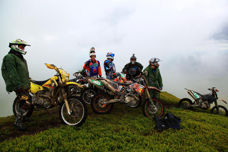 26.05.2013. Carpathian mountains, Ukraine. Motorcyclists stock photography