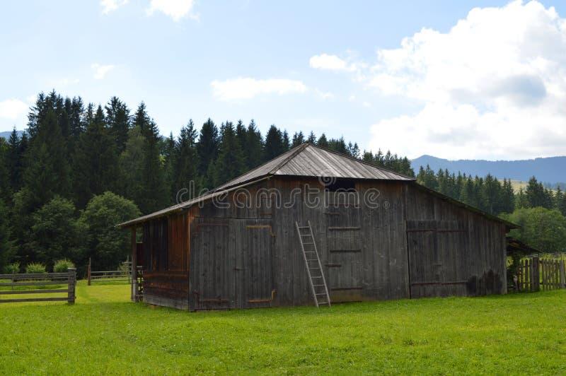Carpathian old barn for livestock royalty free stock photos