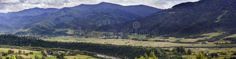 Carpathian rural landscape. A rural landscape at carpathian mountains with Striy river in the Carpathian national park Skolivski beskidy, Lviv region of Western royalty free stock photos