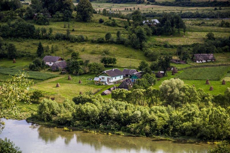 Carpathian rural landscape. A rural landscape at carpathian mountains with Striy river in the Carpathian national park Skolivski beskidy, Lviv region of Western stock images