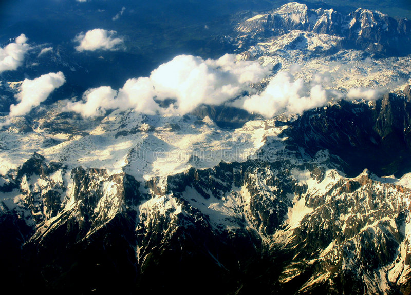Carpathians Mountains from the plane stock images