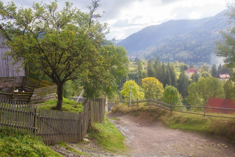 carpathians ukrainsk by gata royaltyfri foto