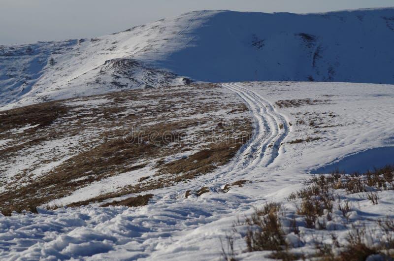 Carpatian-Winter-Landschaftsabdrücke im Schnee stockbild