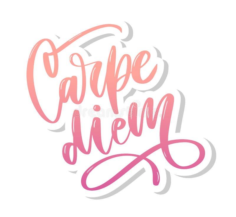 Carpe Diem Красивое сообщение Его можно использовать для дизайна вебсайта, футболки, случая телефона, плаката, лозунга иллюстрация вектора