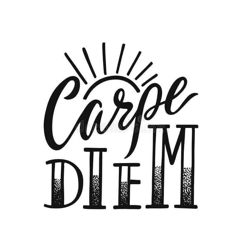 Carpe diem -拉丁词组手段占领天 印刷品,海报, T恤杉的手拉的激动人心的传染媒介行情 向量例证