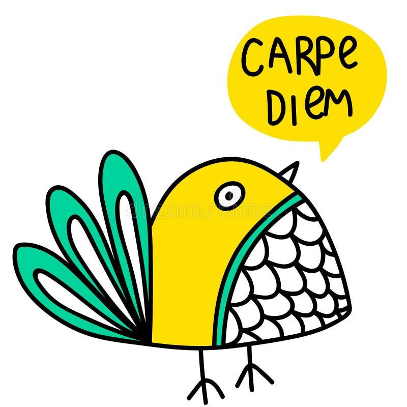Carpe diem inscription et illustration de griffonnage d'oiseau illustration libre de droits