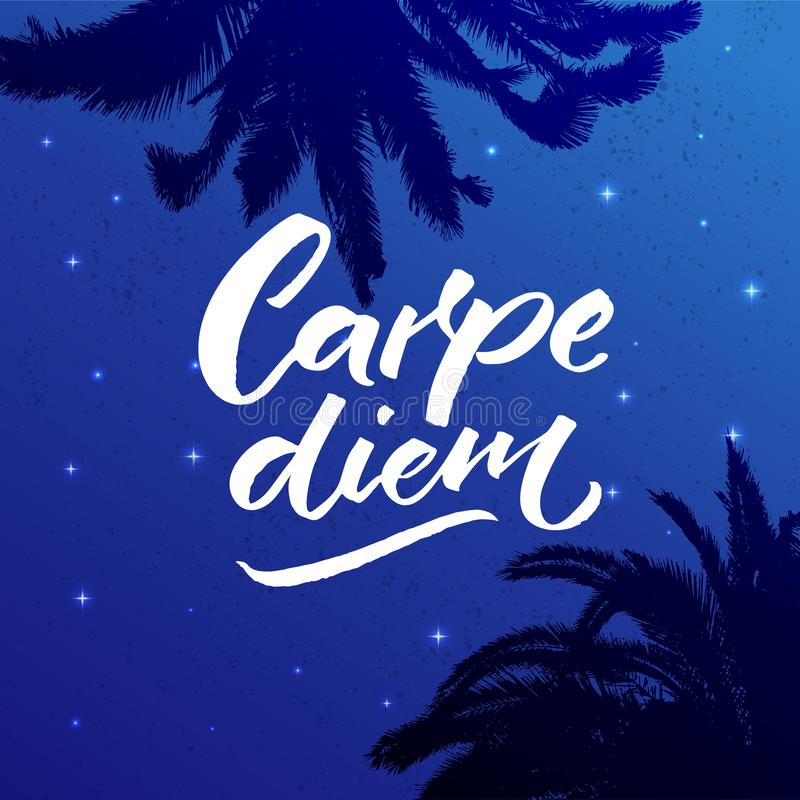Carpe diem - latin phrase means seize the day, enjoy the moment. Inspiration quote brush calligraphy handwritten on stock illustration