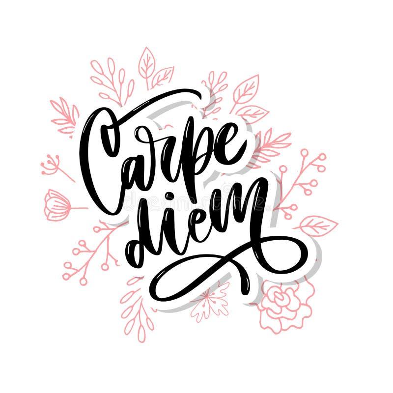 Carpe Diem Mensaje hermoso Puede ser utilizado para el diseño de la página web, camiseta, caja del teléfono, cartel, lema ilustración del vector