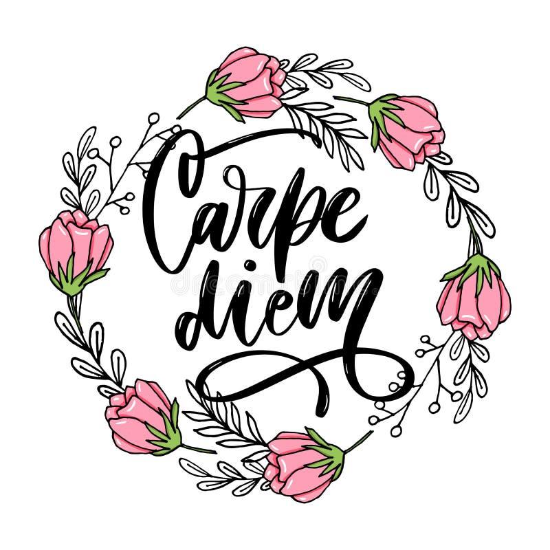 Carpe Diem Mensaje hermoso Puede ser utilizado para el diseño de la página web, camiseta, caja del teléfono, cartel, lema stock de ilustración