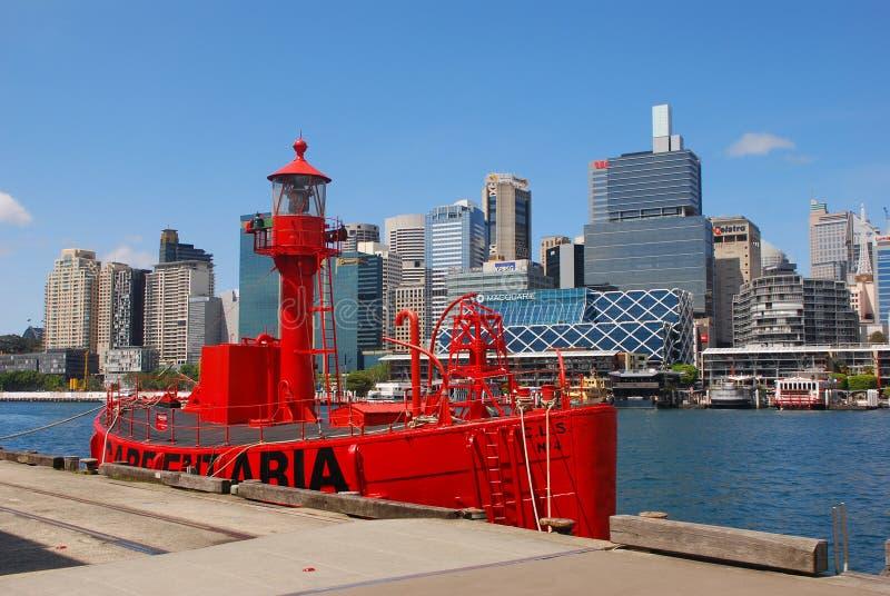 Carpentaria红色灯塔船 库存图片