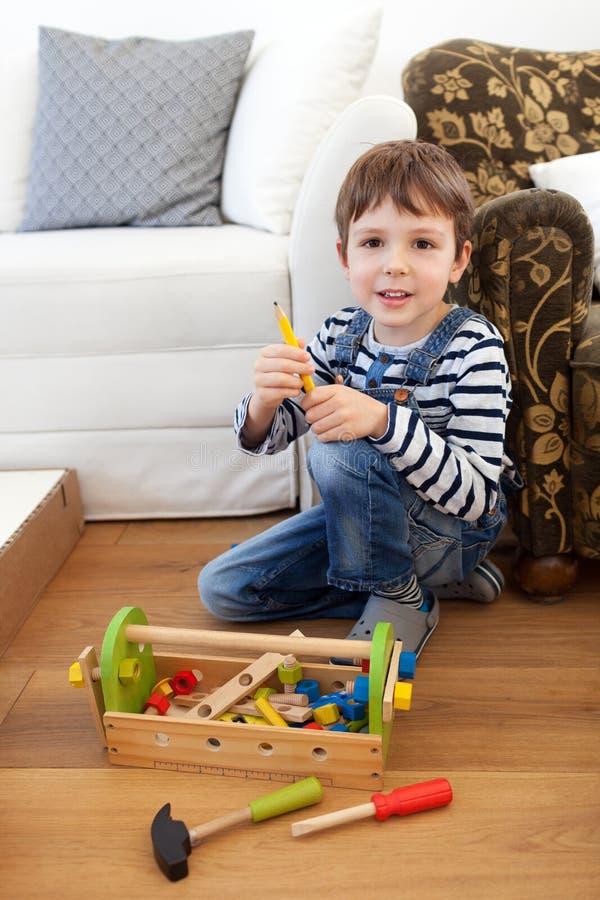 Carpenter's little helper royalty free stock image