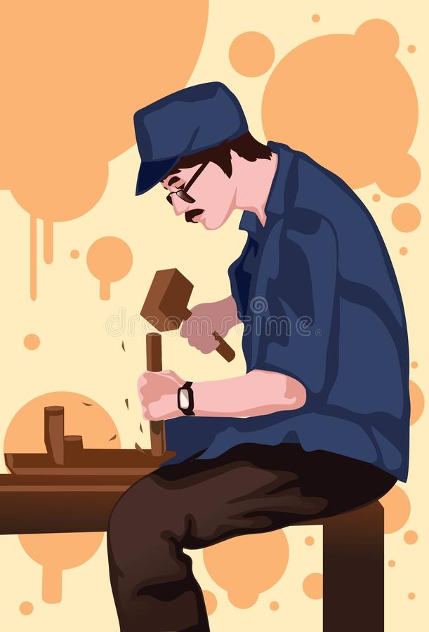 Download The carpenter stock illustration. Image of amend, crafty - 13048864