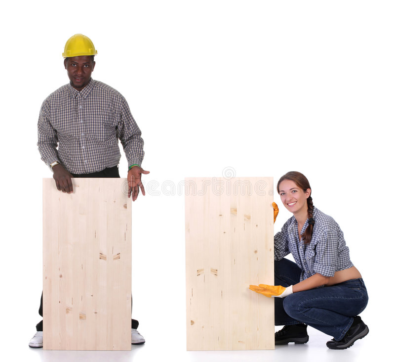 Free Carpenter And Woman Carpenter Royalty Free Stock Photography - 7614057