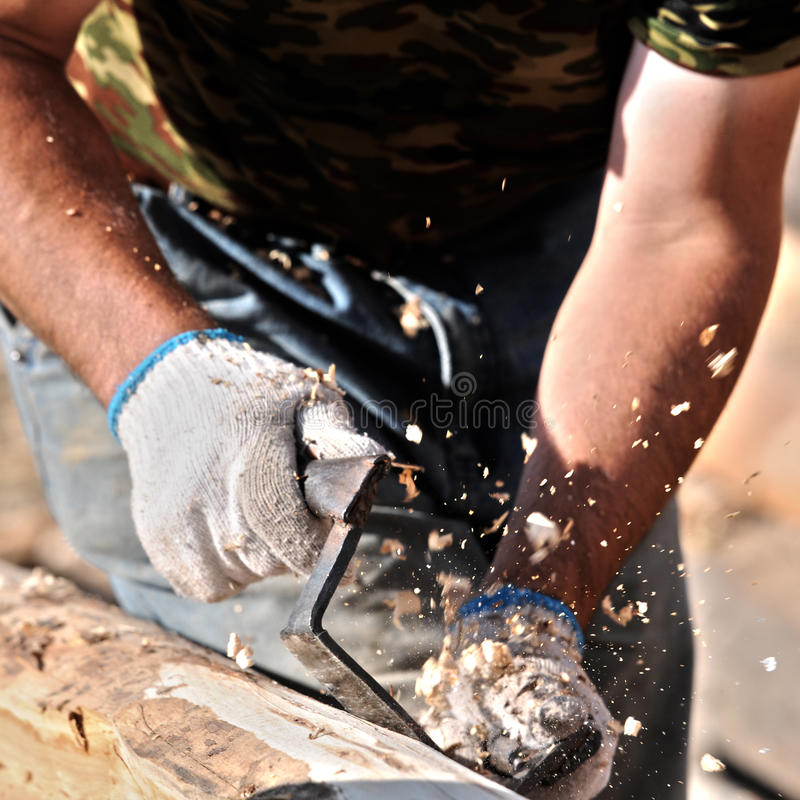 Download Carpenter on during busy stock image. Image of tool, dust - 27896907