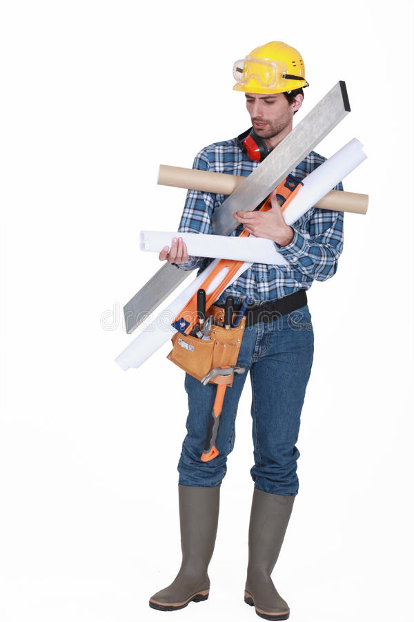 Download Carpenter Carrying Miscellaneous Tools Stock Photo - Image of isolated, helmet: 32236962