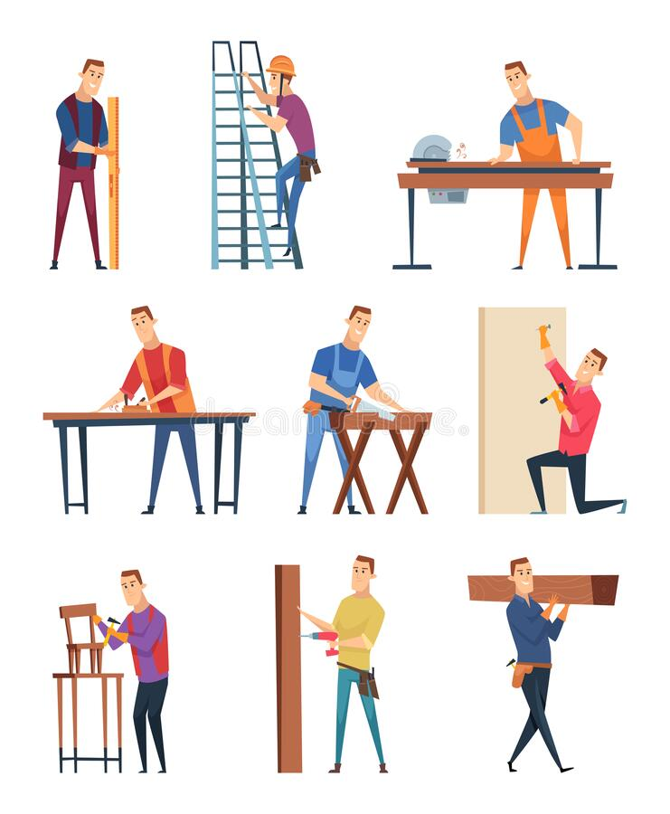 Free Carpenter Character. Professional Wood Workman Carpenter With Equipment Handyman Job Vector Craftsman Royalty Free Stock Images - 184107689
