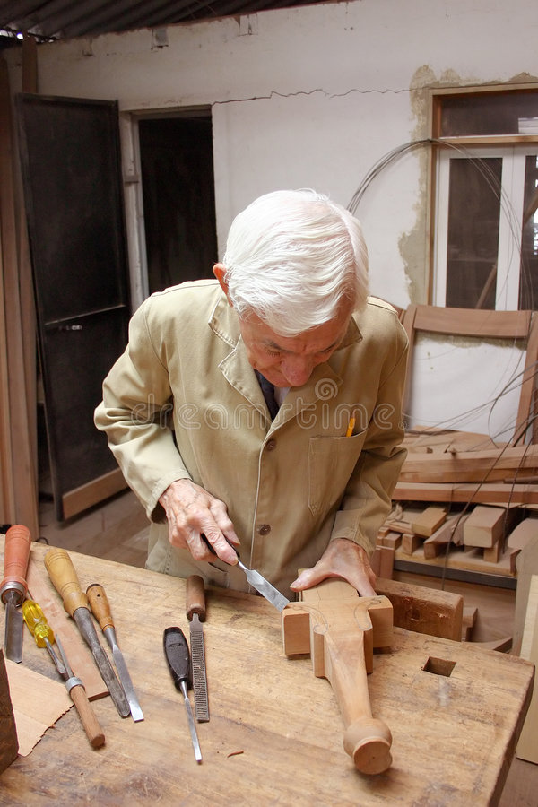 Download Carpenter with chiesel stock photo. Image of worker, working - 108166