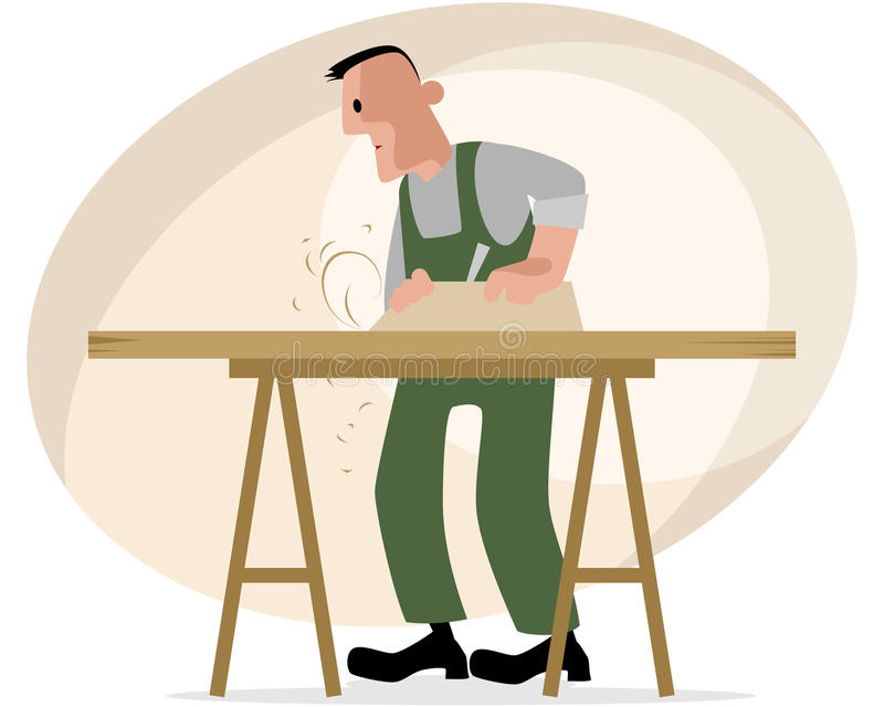 Carpenter and crafting table. Vector illustration of a carpenter and crafting table stock illustration
