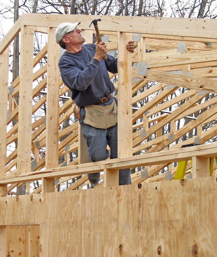 Carpenter Framing Gable End Of House Stock Photo - Image of framing ...