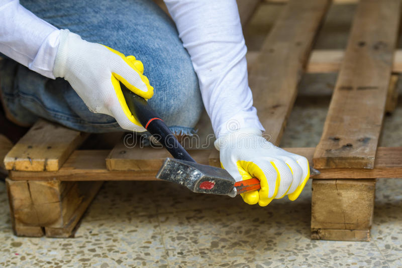 Carpenter Hands With Hammer And Chisel Stock Image - Image ...