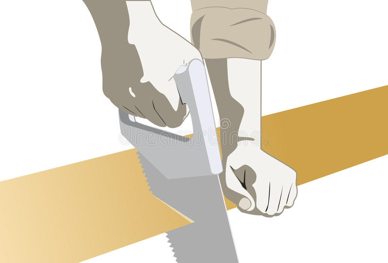 Download Carpenter Hands With A Saw stock vector. Image of hands - 21042679