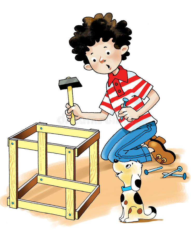 Carpenter joiner boy puppy hammer royalty free stock photo